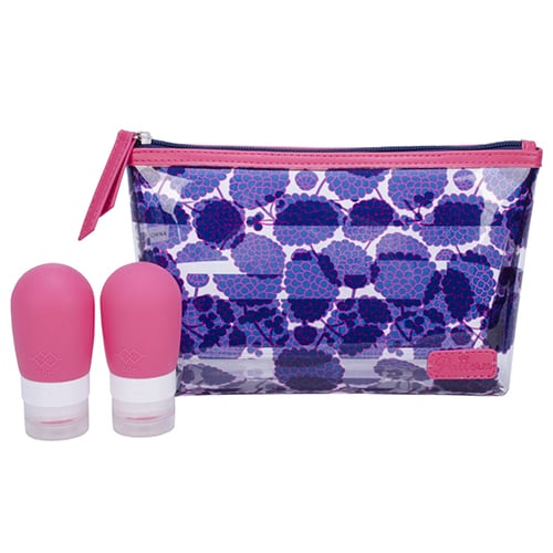 Dahlia Top Zip Clutch with Bottles