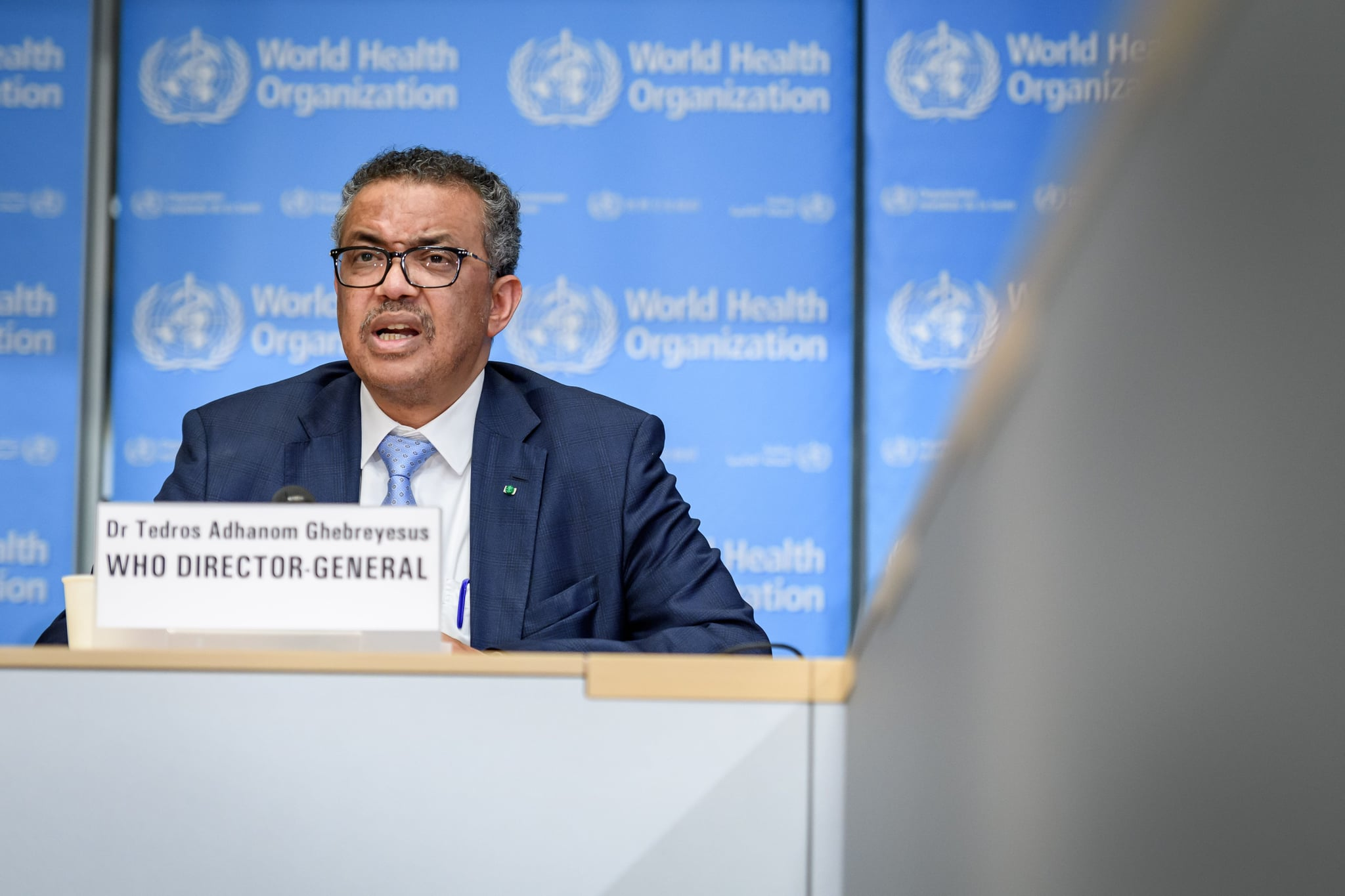 World Health Organization (WHO) Director-General Tedros Adhanom Ghebreyesus speaks during the daily press briefing on the new coronavirus dubbed COVID-19, at the WHO headquaters on March 2, 2020 in Geneva. - The World Health Organization said that the number of new coronavirus cases registered in the past day in China was far lower than in the rest of the world. (Photo by FABRICE COFFRINI / AFP) (Photo by FABRICE COFFRINI/AFP via Getty Images)