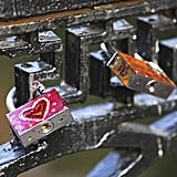 Padlocks at a bridge in Moscow, Russia.