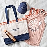 Large Gusseted Patterned Bottom Tote, Copper Vacuum Water Bottle, and Comfort Colours Trucker Hat