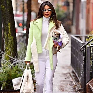 Priyanka Chopra Green Shearling Jacket in NYC December 2018