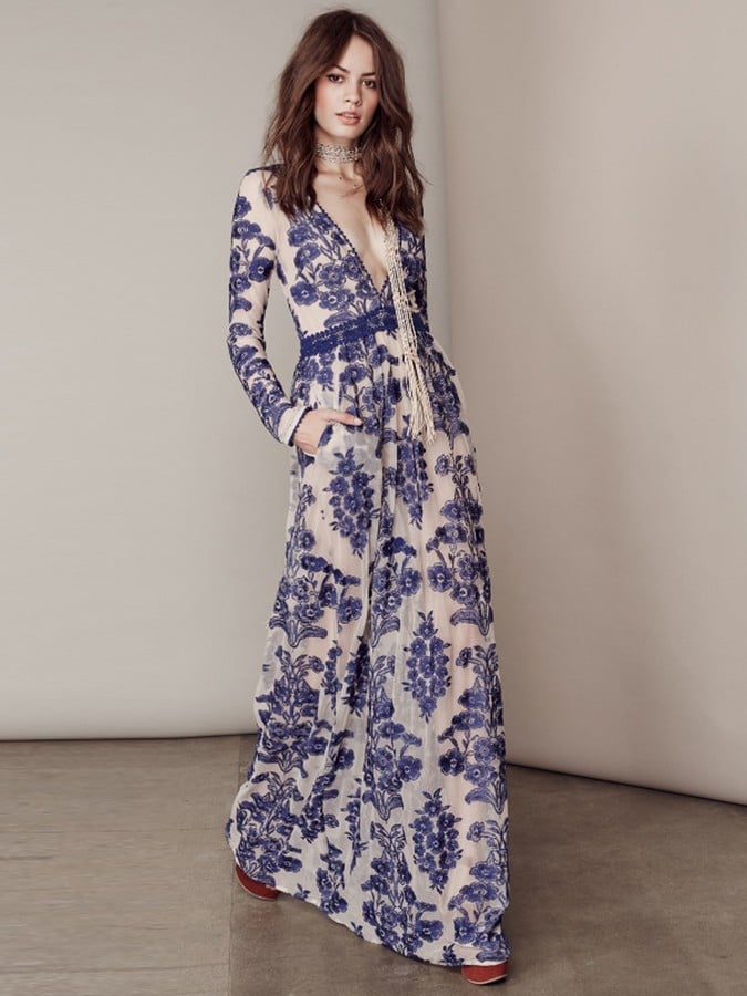 For Love & Lemons Temecula Maxi Dress in Navy ($266)