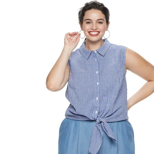 POPSUGAR Plus Size Tie-Front Button-Up Tank Top