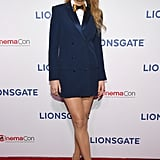 Wearing a Sonia Rykiel blue blazer dress, an Aritzia shirt, and a Brackish bow-tie to CinemaCon 2018.