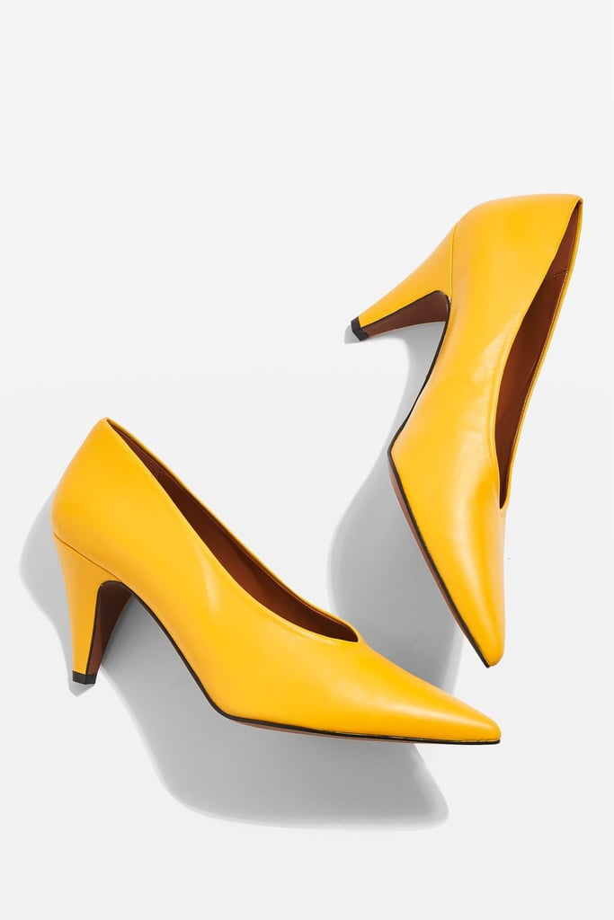 Topshop's Jessie V-Cut Mid Heel Shoes ($100) are taxi cab yellow.