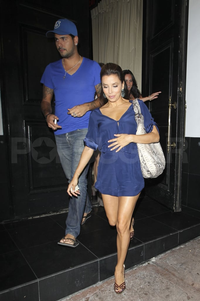 Eva Longoria and her boyfriend, Eduardo Cruz, were matching in blue as they left dinner at her restaurant, Beso, in LA last night. Eva is already having quite the September with the final season of Desperate Housewives premiering at the end of the month —check out all the Fall TV premiere dates with Buzz's printable calendar! – and her hosting gig at the ALMA awards coming up on Sept. 16. Eva also landed on the star-studded 15th-anniversary cover of Latina magazine and was named one of Variety's Power Women of the Year. All that and she's still going hot and heavy with her man, Eduardo, as they come up on nine months of dating though Eva and Eduardo did deny engagement rumors that surfaced this week.