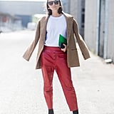 Wear Red Leather Trousers With a Tweed Blazer