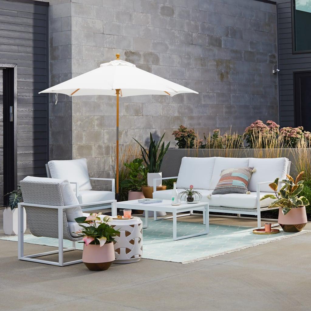 MoDRN Glam Ava 4-Piece Aluminium Sunbrella Cushioned Conversation Set