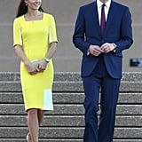 Kate greeted Australia in a sunny Roksanda Ilincic sheath at the Sydney Opera House.