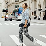 Easy Outfits: A Crewneck Sweater, Printed Pants, Boots, and a Clutch