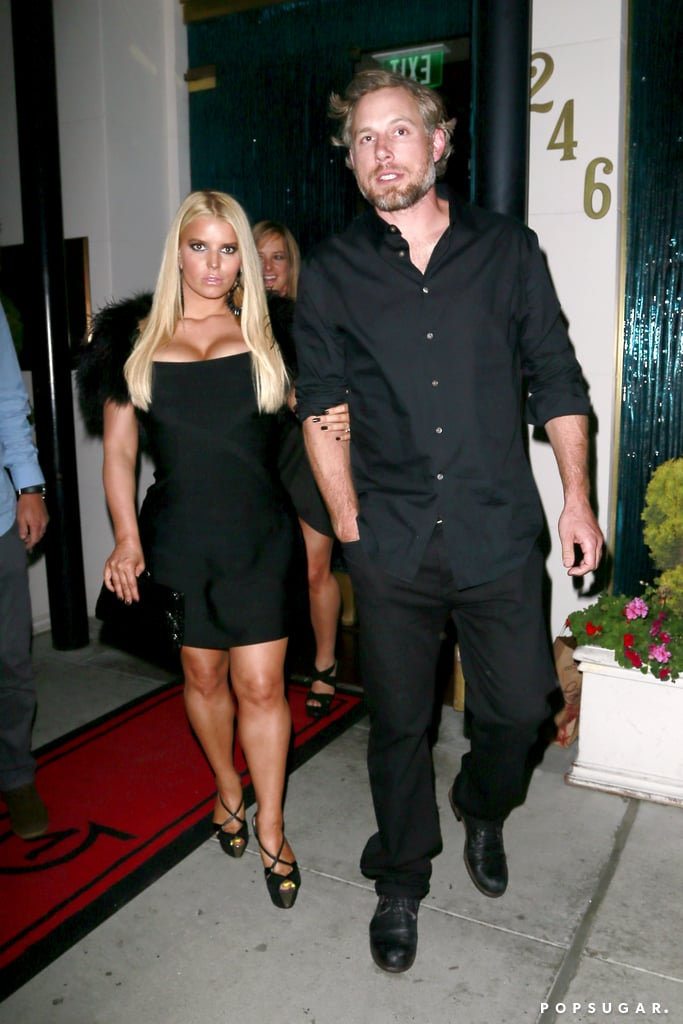 "Jessica Simpson and Eric Johnson celebrated Halloween with a triple date in LA. The parents of two were joined by Ashlee Simpson and her boyfriend, Evan Ross, as well as Jessica's longtime friend CaCee Cobb and her husband, Donald Faison, for a night out at Mastro's. While none of the couples were wearing costumes, Jessica did look Halloween-appropriate in a formfitting black dress with a matching fur shrug.  Jessica recently opened up about her weight-loss plan after giving birth to son Ace four months ago. She said in an interview that she is ""more confident"" with her progress this time around, adding that because she used Weight Watchers to shed the pounds she gained when she was pregnant with Maxwell, she knew what she was getting into. She added that Eric has been a big source of support, saying, ""He loves me and always makes me feel beautiful . . . so he's awesome."" Jessica's friend CaCee also recently welcomed her first son, Rocco, this Summer."