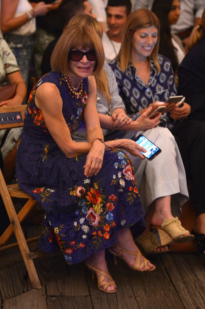 Anna even cracked a smile front row.