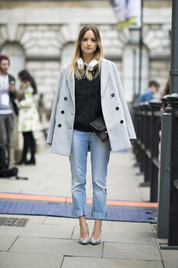 The classics got a street-chic finish with cool-girl headphones and a pair of studded metallic pumps. Source: Le 21ème | Adam Katz Sinding