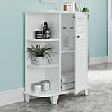 Floor Cabinet With Decorative Shelves and Shutter Door