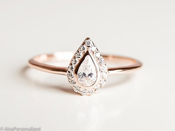Etsy AlyaPersonalized Pear-Cut Engagement Ring