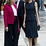 Queen Letizia Looked Very Chic in a Navy Set
