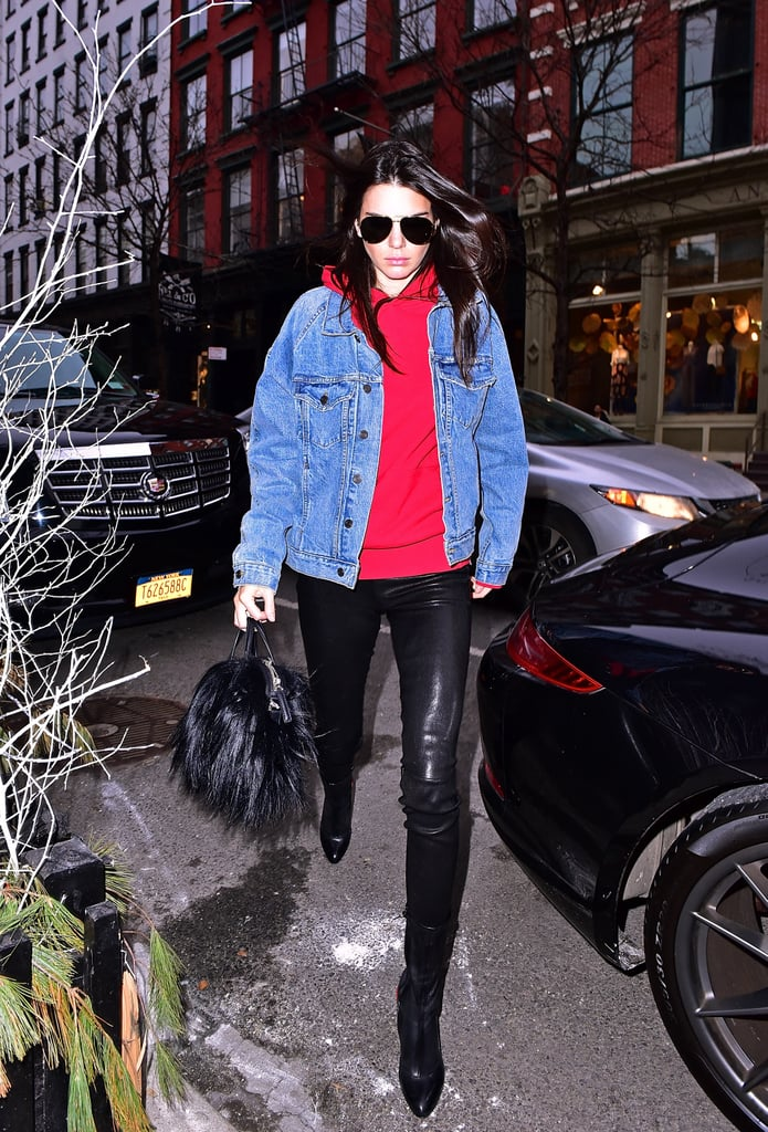 This Denim Jacket, Red Hoodie, and Leather Leggings Combo ...