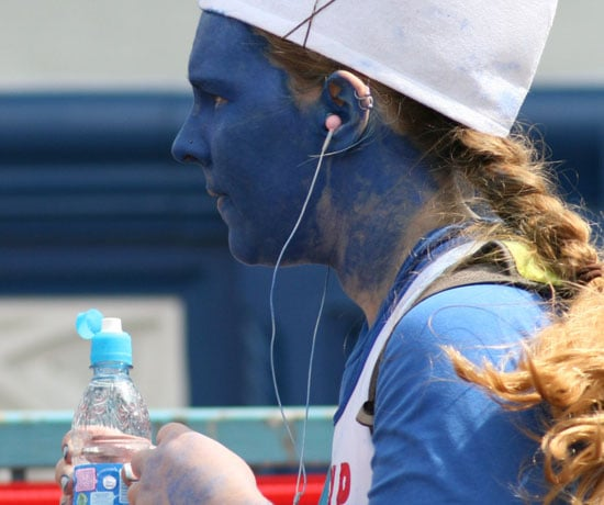 For the 2010 London Marathon, this runner kept wore a trendy braid. And by the end of the race, her blue makeup likely ran, too. Source: Flickr User paul-simpson.org