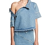 Monse Off-Shoulder Asymmetric Denim Top