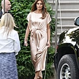 Melania wore a champagne Monique Lhuillier silk gown and Manolo Blahnik heels to Ford's Theatre in June 2017.