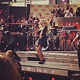 Demi Lovato entertained the crowd gathered outside the Staples Center. Source: Instagram user PopSugar