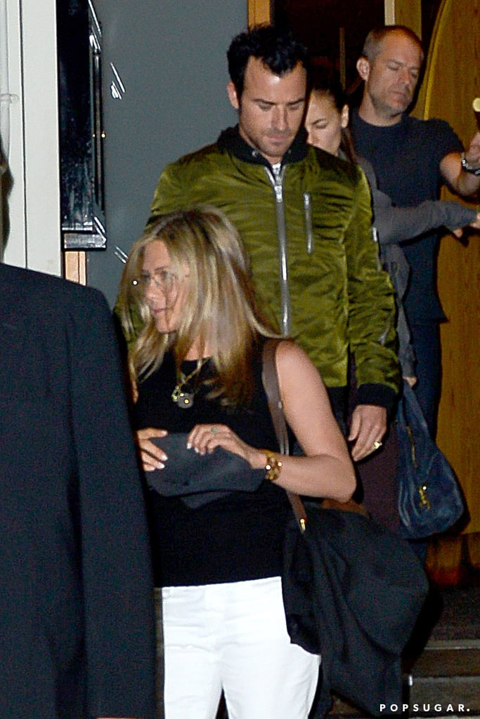 Jennifer Aniston wore her new glasses to dinner.