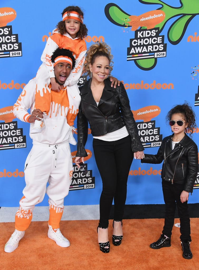 "Mariah Carey and Nick Cannon's kids look like they had the most fun at the 2018 Kids' Choice Awards. The stylish family arrived at the slimy award show decked out like the real-life rock stars that they are, and it was too cute. Mariah walked the orange carpet wearing an all-black ensemble including a leather jacket, studded heels, and shades, which her 6-year-old daughter, Monroe, mimicked almost identically. Meanwhile, Nick's mini me, Moroccan, also matched his dad's outfit with an orange-and-white sweatsuit that screamed: ""too cool for school."" The twins also got to pose for photos with host John Cena inside the event, because that's what rock stars do. See more photos from their fun family night out ahead.       Related:                                                                                                           Inside Mariah Carey's Life as the World's Most Glamorous Mom"
