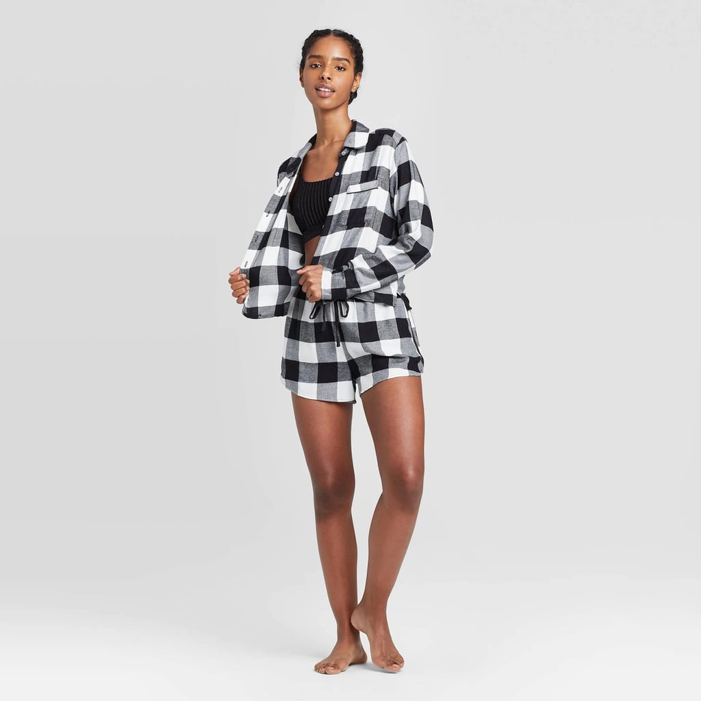 Women's Plaid Flannel Notch Collar Pajama Set