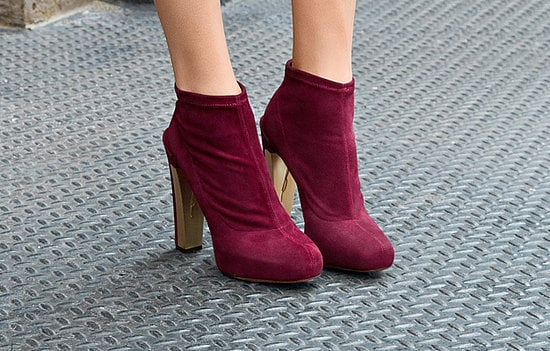 Edeline Wine Stretch Suede Ankle Boots ($450)