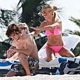 Julianne Hough Shows Off Her Sexy Abs in a Hot Pink Bikini on the Beach