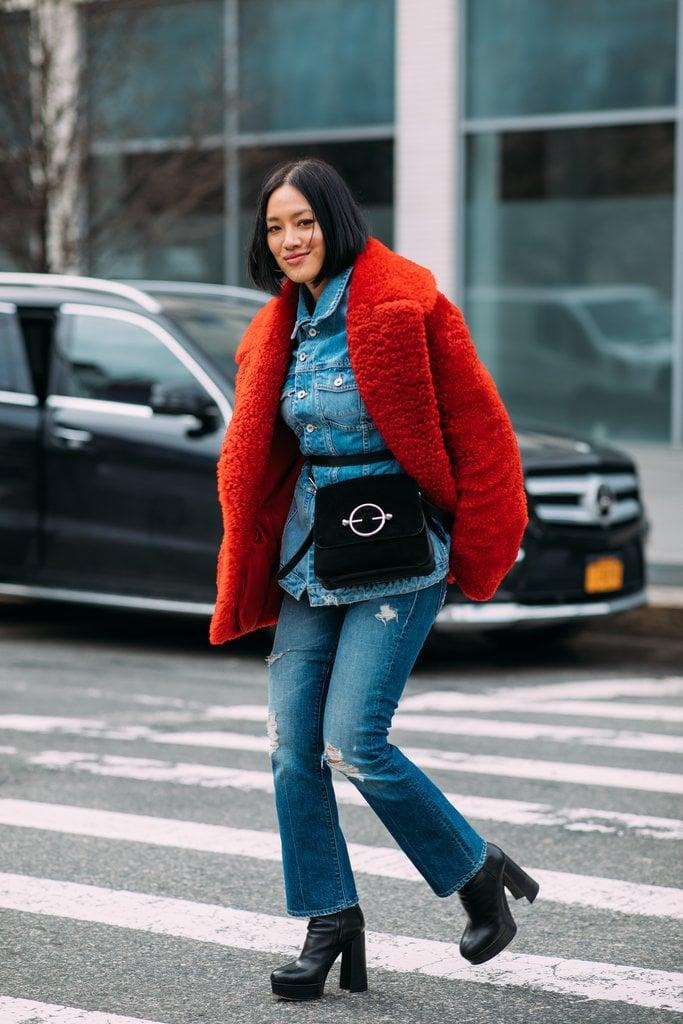 Top off double denim with a bold coat like Tiffany Hsu.
