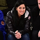 On Thursday, Sarah Silverman was all smiles at the New York Knicks vs. Washington Wizards basketball game in NYC.