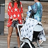 Alessandra Ambrosio wore a red sweater with stars on it for the Fourth of July.