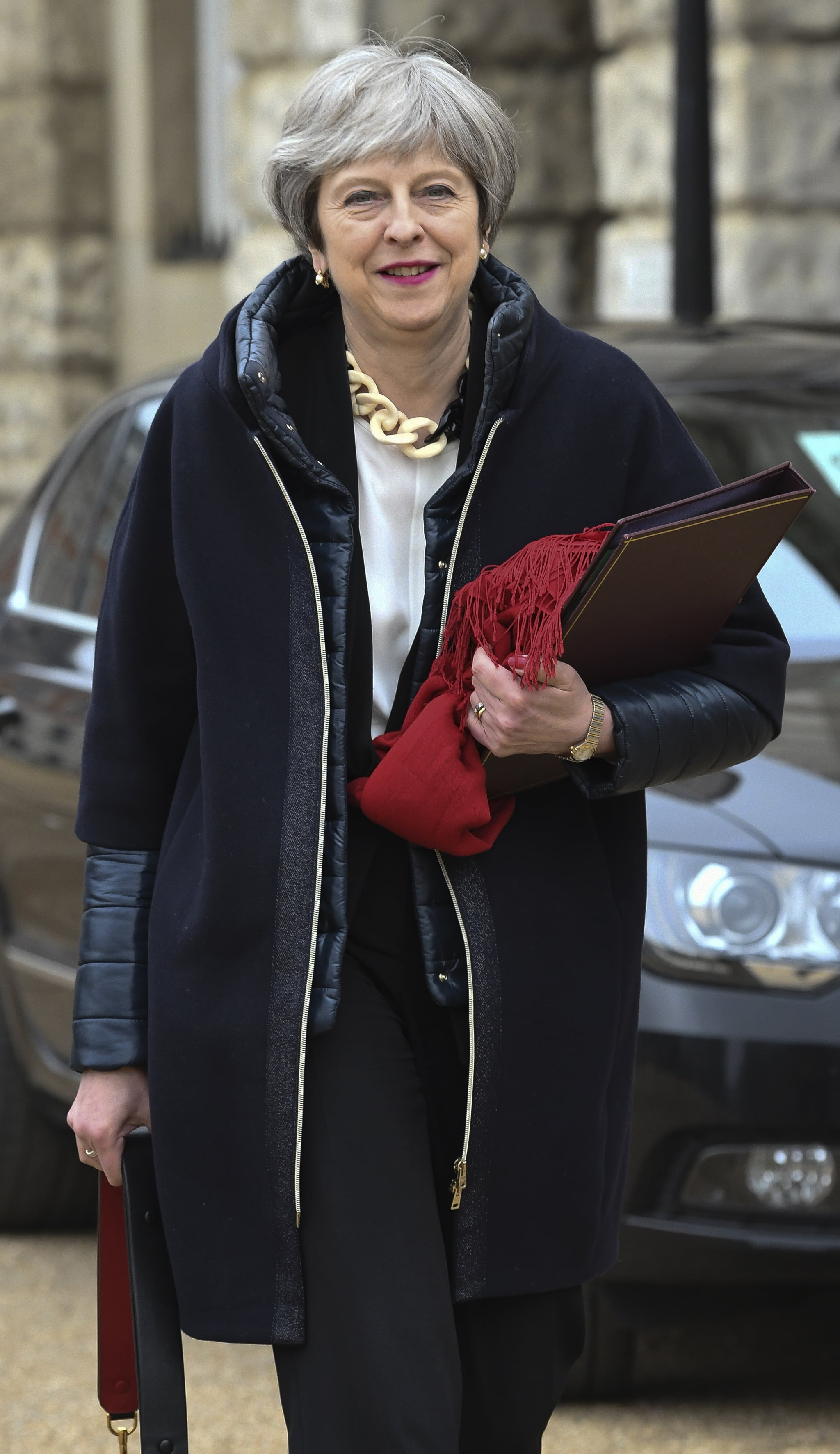 LONDON, ENGLAND - APRIL 12:  British Prime Minister Theresa May arrives for an emergency cabinet meeting at Downing Street on April 12, 2018 in London, England. British Prime Minister Theresa May has called an emergency cabinet meeting amid speculation she will back US action against Syria.  (Photo by Steve Back/Getty Images)