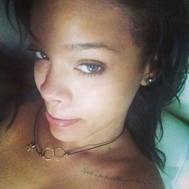 Rihanna shared a makeup-free selfie.  Source: Instagram user badgalriri