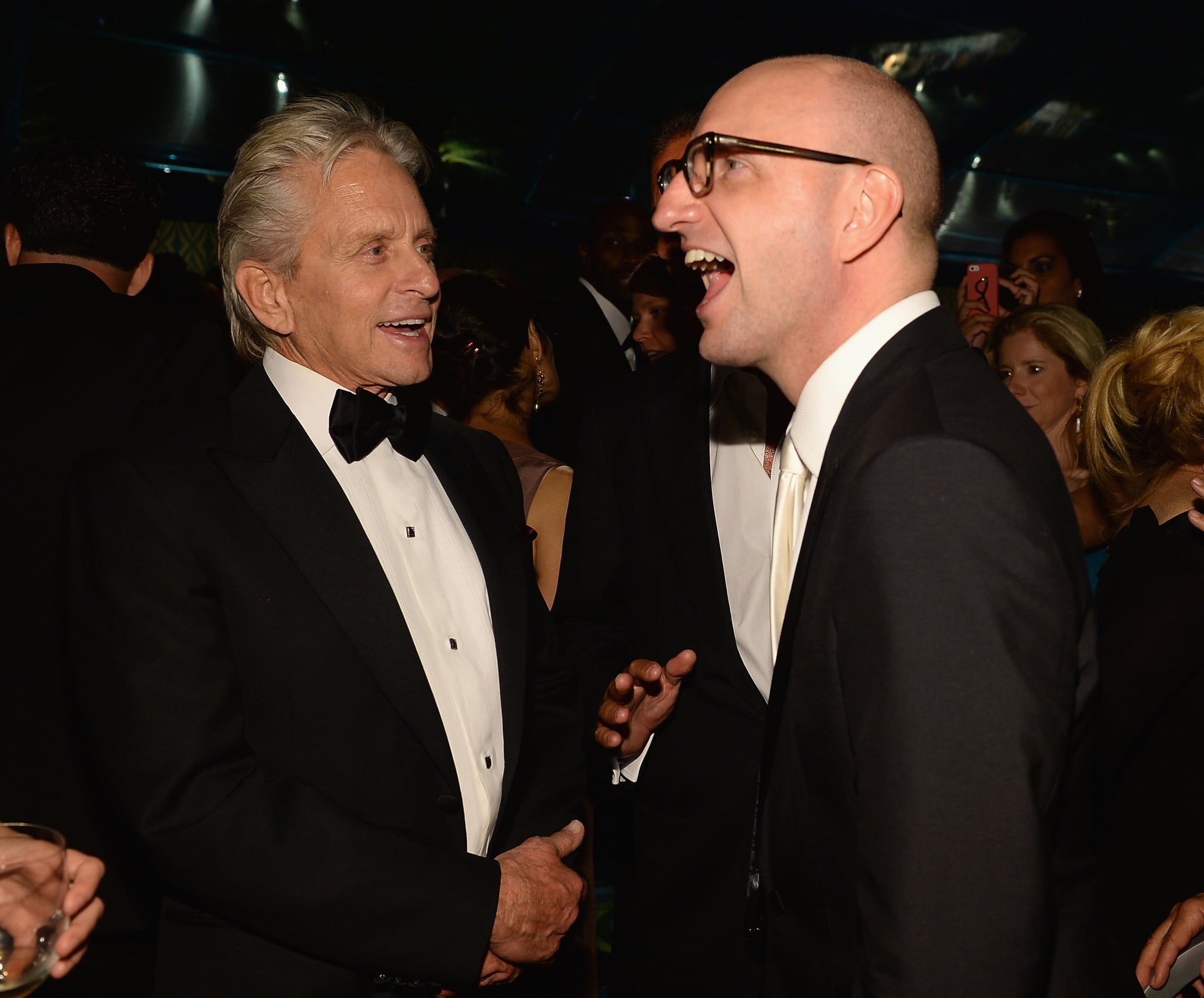 Michael Douglas chatted with Steven Soderbergh at the HBO afterparty.