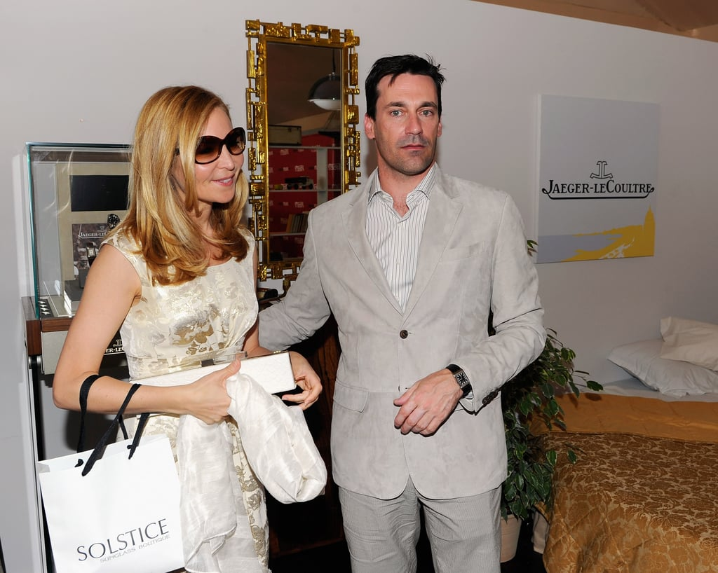 Jon Hamm and Jennifer Westfeldt scoped out the Solstice boutique inside the Stella Artois Lounge at Cannes.