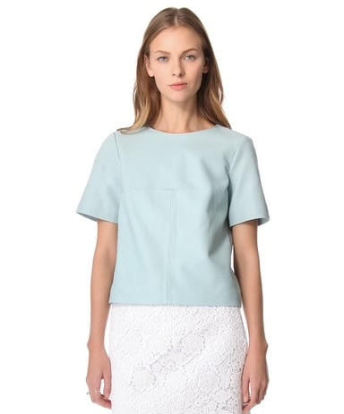 In keeping with my New Year's resolution, I'm ditching my t-shirts. This Tibi leather and canvas top ($548) ups the ante on that everyday shirt silhouette — it's the coolest, chicest version, so it's not really a t-shirt at all, right? Plus, I love that this serene blue hue will look equally appealing with dark denim, white jeans, or slick black leather miniskirt. — HW