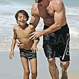 Hugh Jackman and son Oscar soaking up some sun in Sydney.