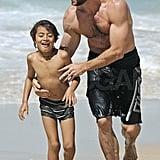 Hugh Jackman and son Oscar soaking up some sun in Sydney.