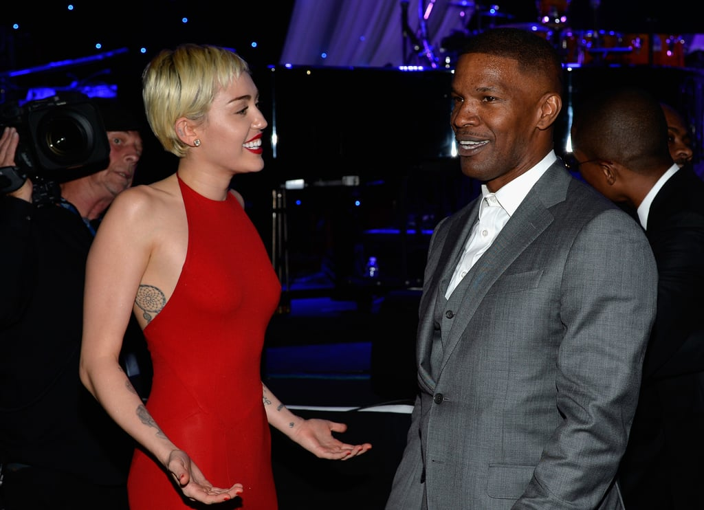Miley Cyrus And Jamie Foxx  Celebrities At Clive Daviss -3140