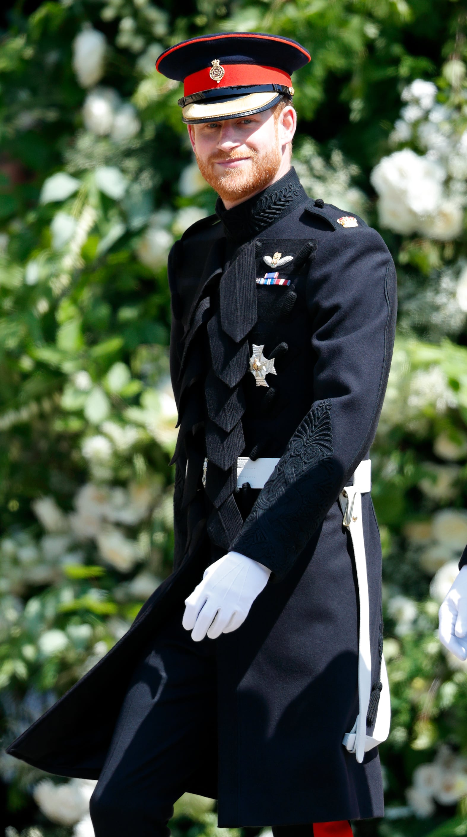 WINDSOR, UNITED KINGDOM - MAY 19: (EMBARGOED FOR PUBLICATION IN UK NEWSPAPERS UNTIL 24 HOURS AFTER CREATE DATE AND TIME) Prince Harry arrives at St George's Chapel, Windsor Castle ahead of his wedding to Ms Meghan Markle on May 19, 2018 in Windsor, England. Prince Henry Charles Albert David of Wales marries Ms. Meghan Markle in a service at St George's Chapel inside the grounds of Windsor Castle. Among the guests were 2200 members of the public, the royal family and Ms. Markle's Mother Doria Ragland. (Photo by Max Mumby/Indigo/Getty Images)