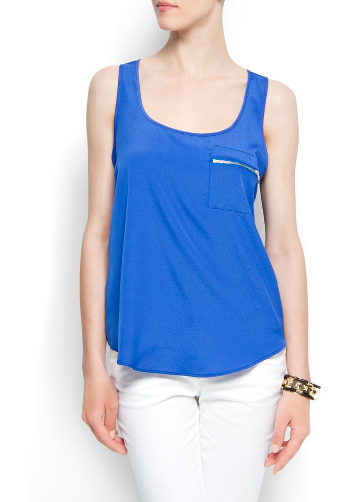 Kick back and relax in this bright blue floaty tank.  Mango Top Pocket Tank ($35)