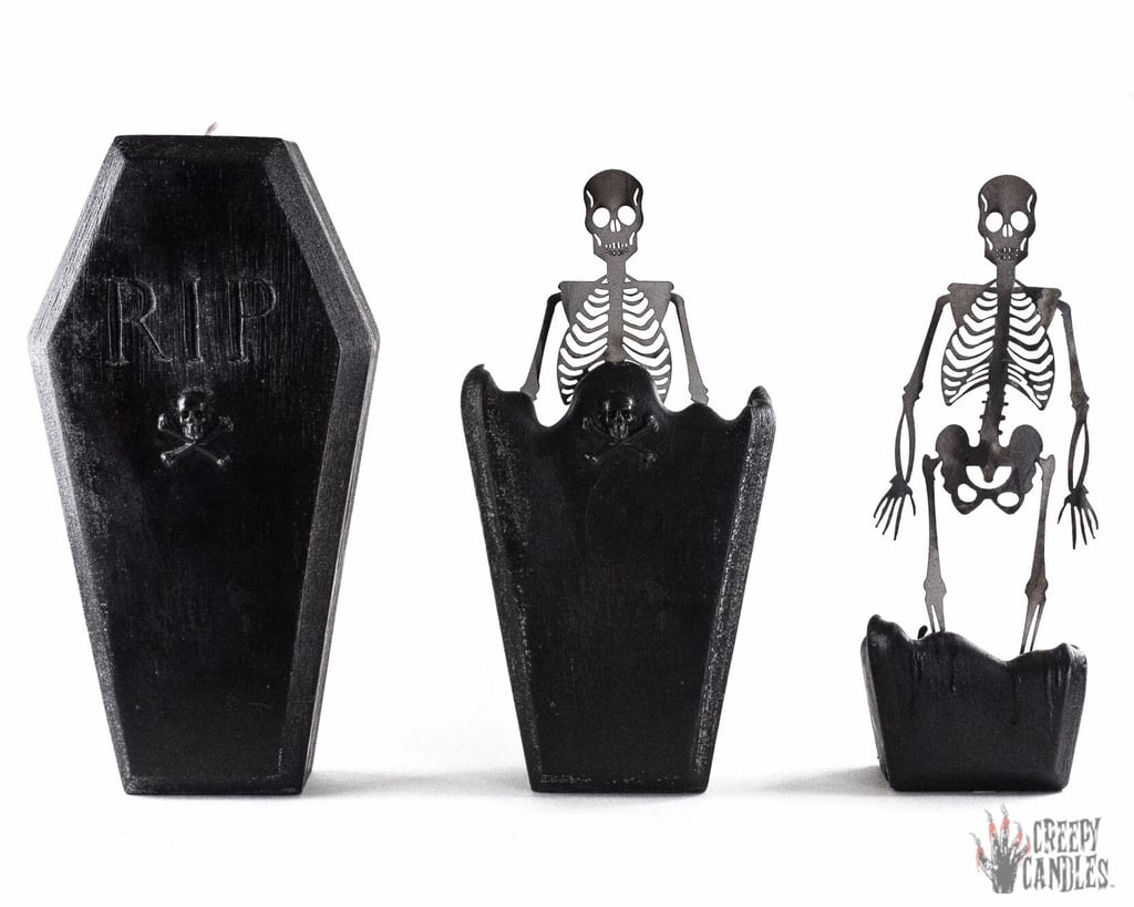 This Coffin Candle Melts to Reveal a Spooky Skeleton Inside