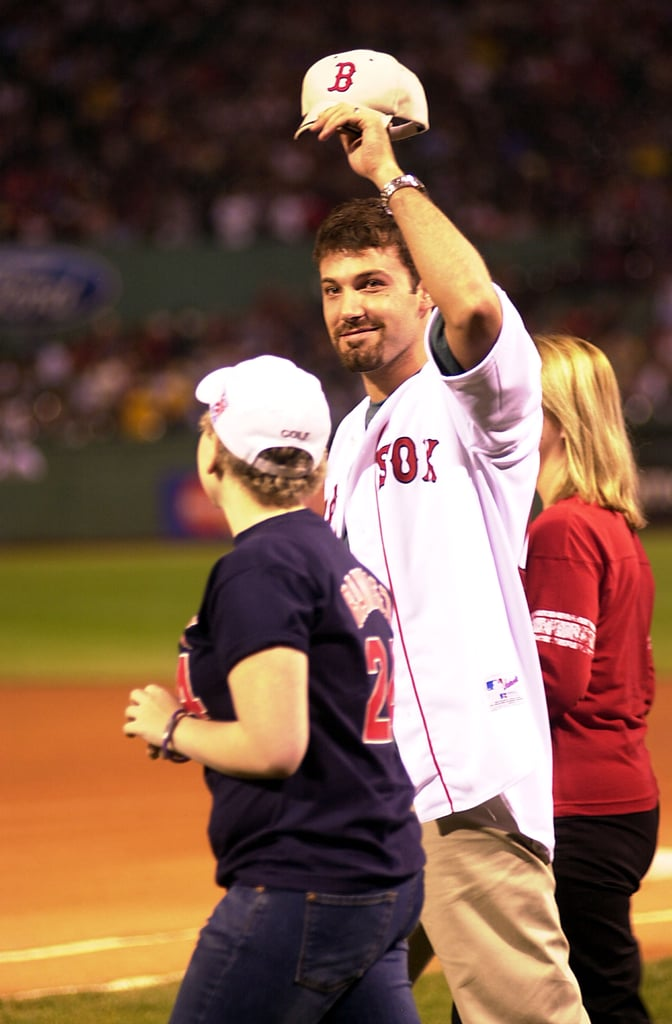 Ben Affleck threw the first pitch for his hometown team, the Boston Red Sox, in August 2003.