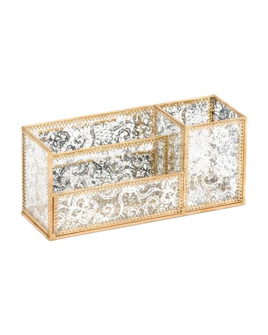Brass Mirrored Desktop Organizer