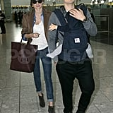 Orlando Bloom carried son Flynn Bloom as they leave London with Miranda Kerr.