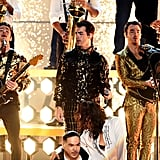Nick, Joe, and Kevin Jonas at the 2020 Grammys