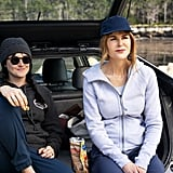 Shailene Woodley as Jane Chapman wearing a beanie and sweats and Nicole Kidman as Celeste Wright wearing a zip-up and baseball cap.