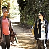 Crystal Fox as Elizabeth Howard, Bonnie's mom, wearing a head wrap and fringed sweater, and Zoë Kravitz as Bonnie Carlson wearing a graphic tee.